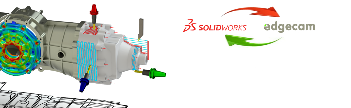 there are toolpaths, solidworks logo, edgecam logo, solidworks simülation, render and drawing